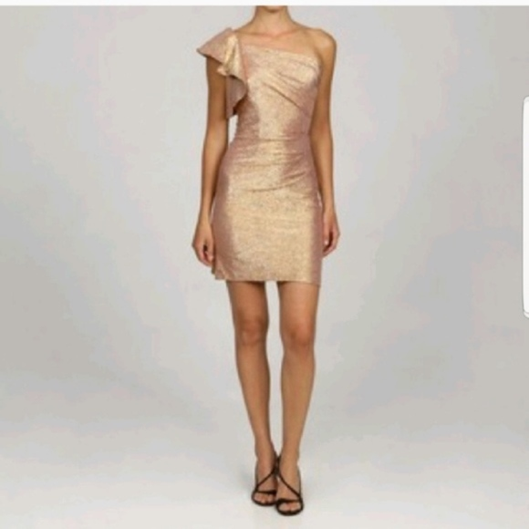 Adrianna Papell Dresses & Skirts - Adrianna Papell One Shoulder Gold Ruffle Dress